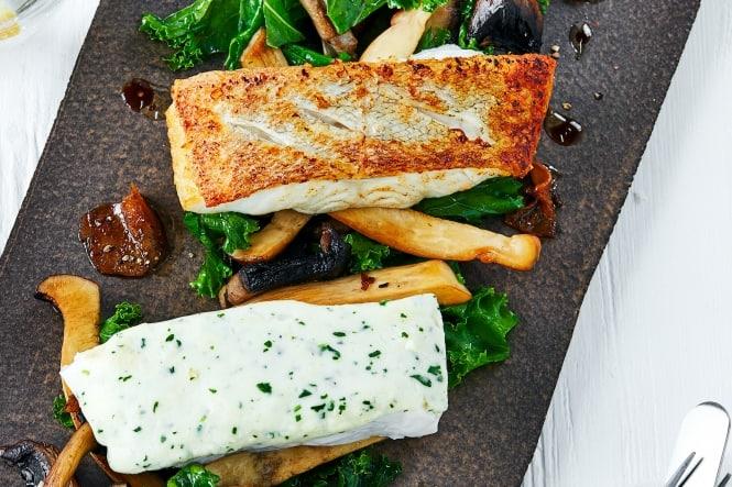 Nutaaq® torsk med grønkål, svampe og ingefær