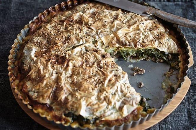Tærte med oksekød, spinat og squash